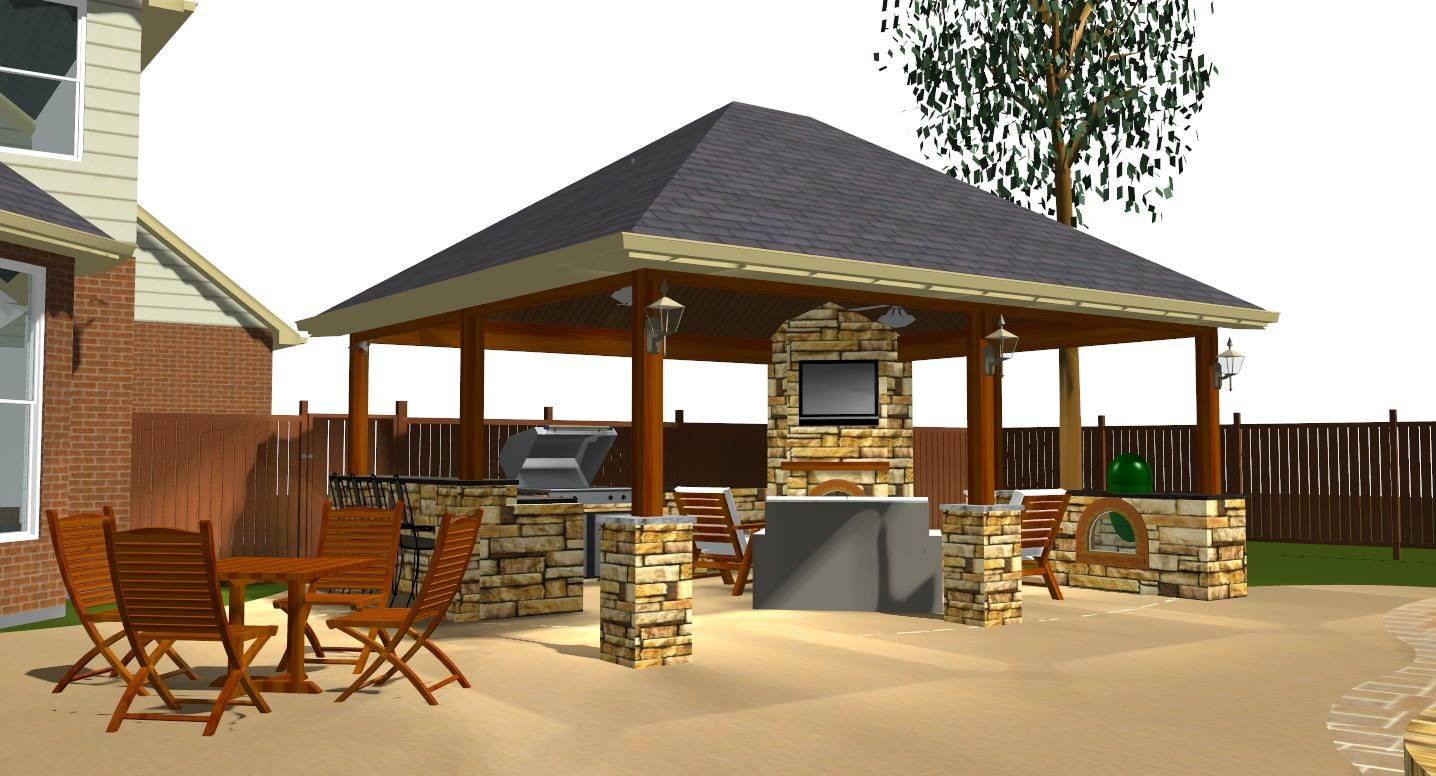 Covered patio with fireplace austin detached covered for Covered patio decorating ideas