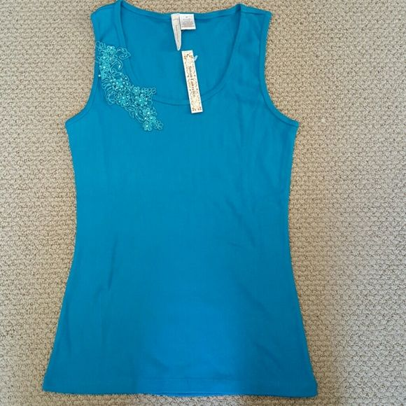 Tank top Torquiose tank with floral applicate with beads. susan lawrence Tops Tank Tops