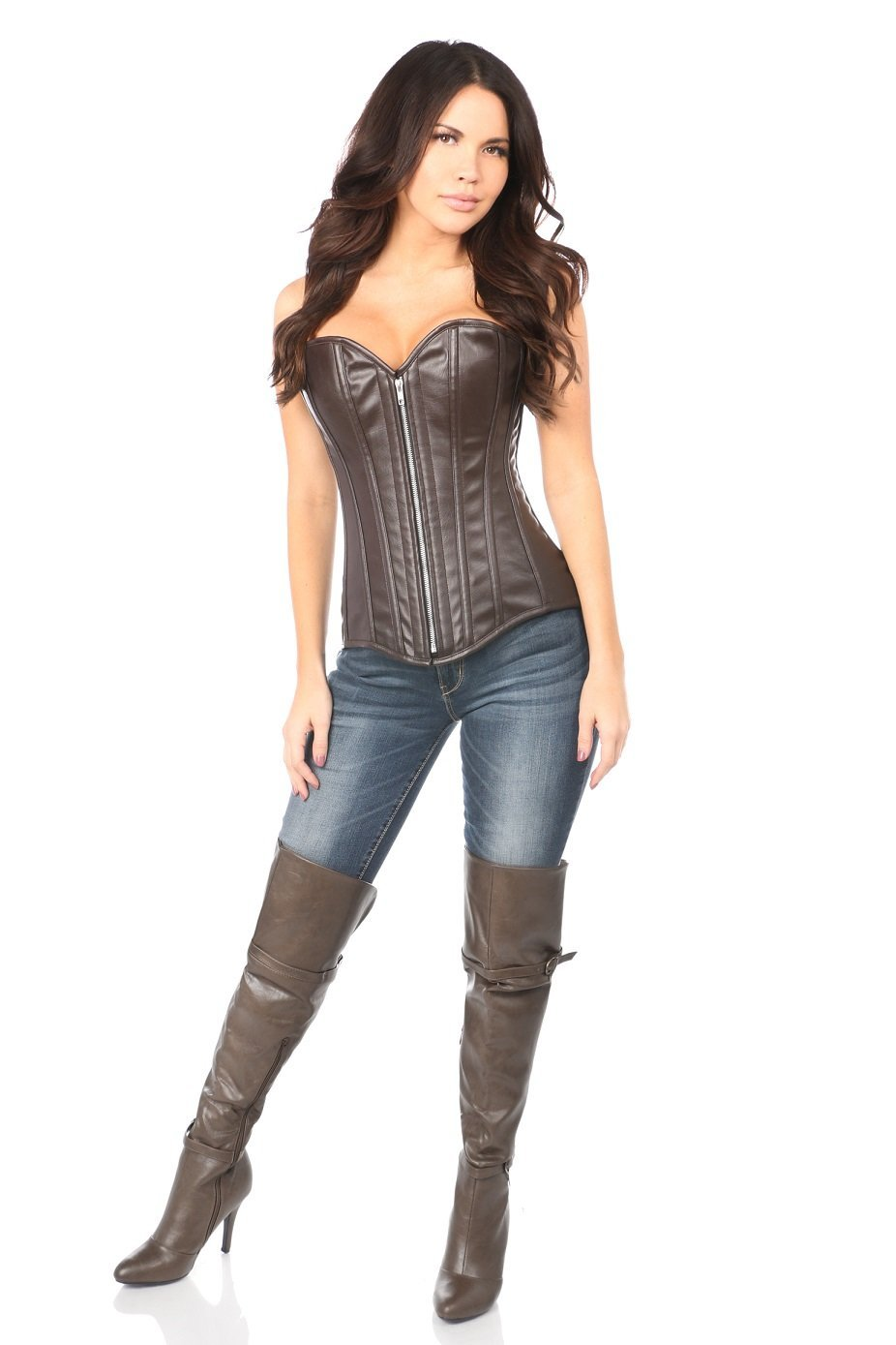 79020b081 Daisy Corsets Top Drawer Distressed Dark Brown Faux Leather Steel Boned  Corset