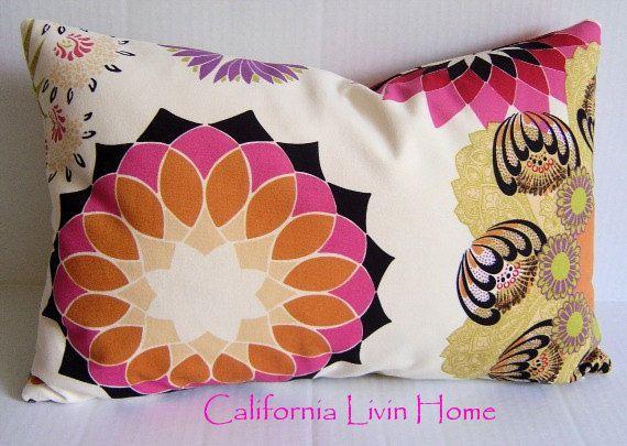 "RETRO Chic MOD Lumbar Pillow Cover / 12"" x 18"" / Multi Color / Designer Suede Microfiber Fabric / Designer Pillow. $30.00, via Etsy."