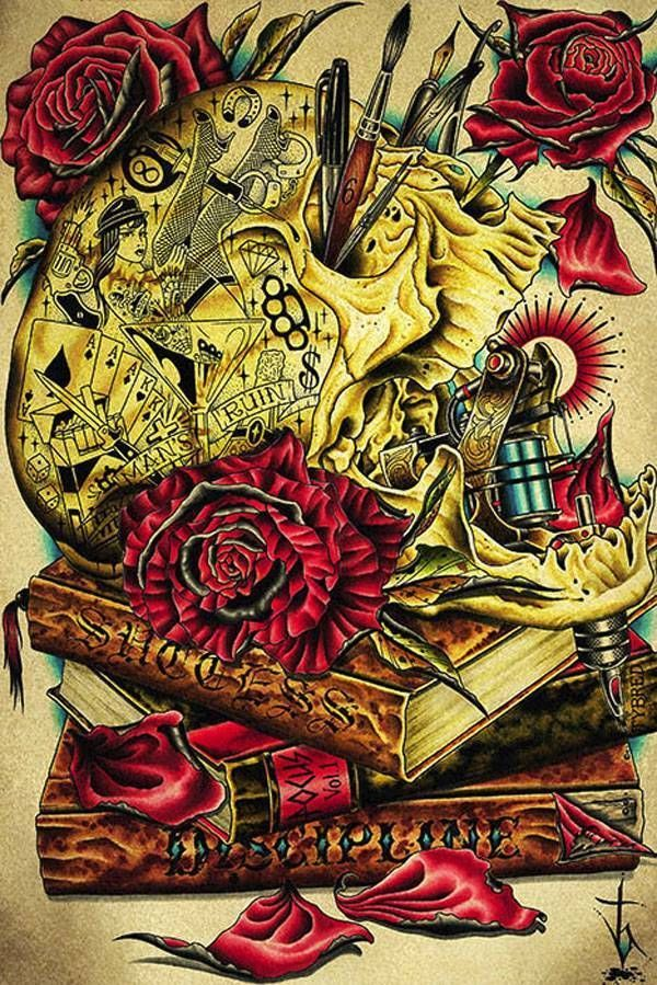 The Craft By Tyler Bredeweg Tattoo Art Print Traditional Artwork Skull Roses
