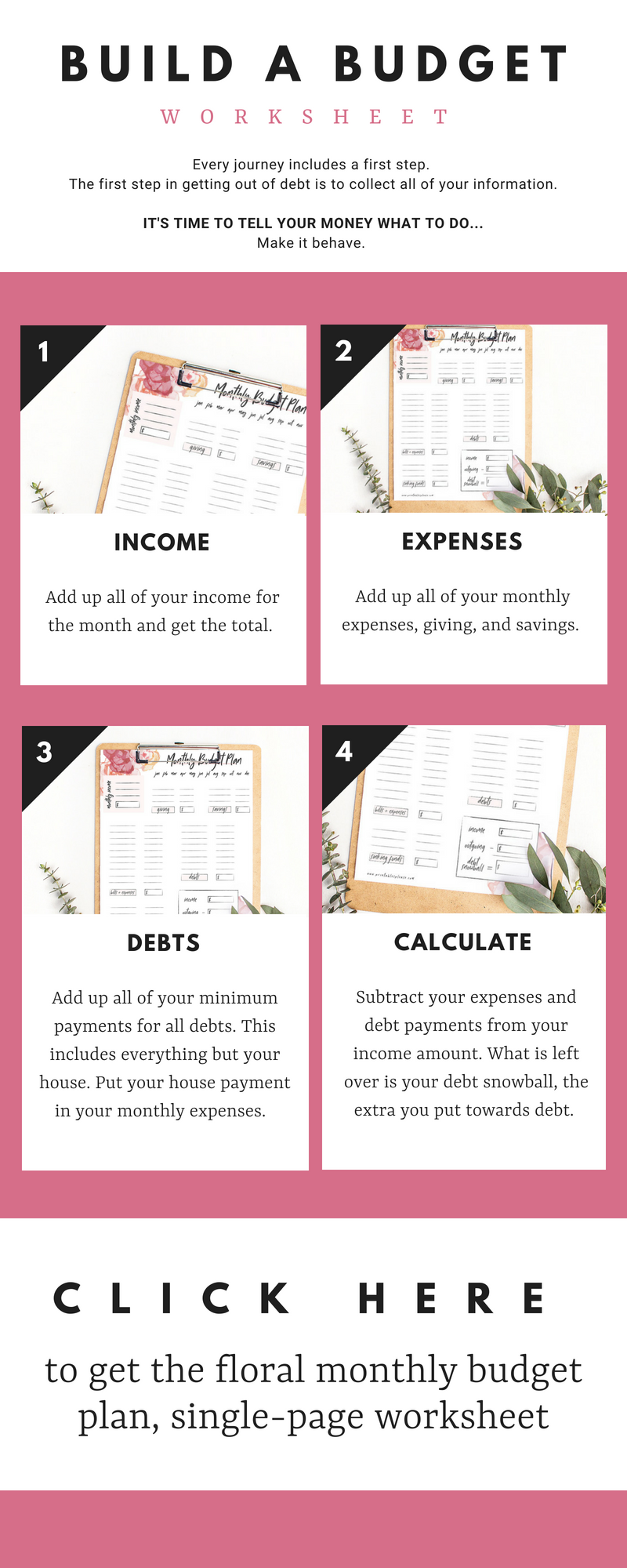 A single page printable budget worksheet to help you list