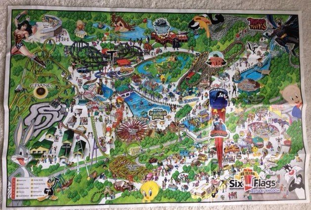 2006 Six Flags Kentucky Kingdom Map 45 Years Collectibles For