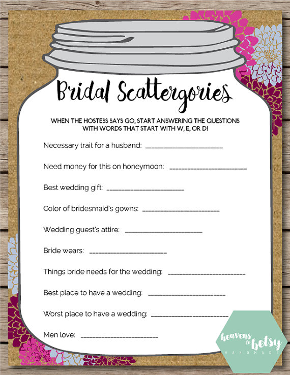 this printable scattergories game is perfect for any bridal shower or wedding keep guests entertained while watching a bride open gifts at a shower