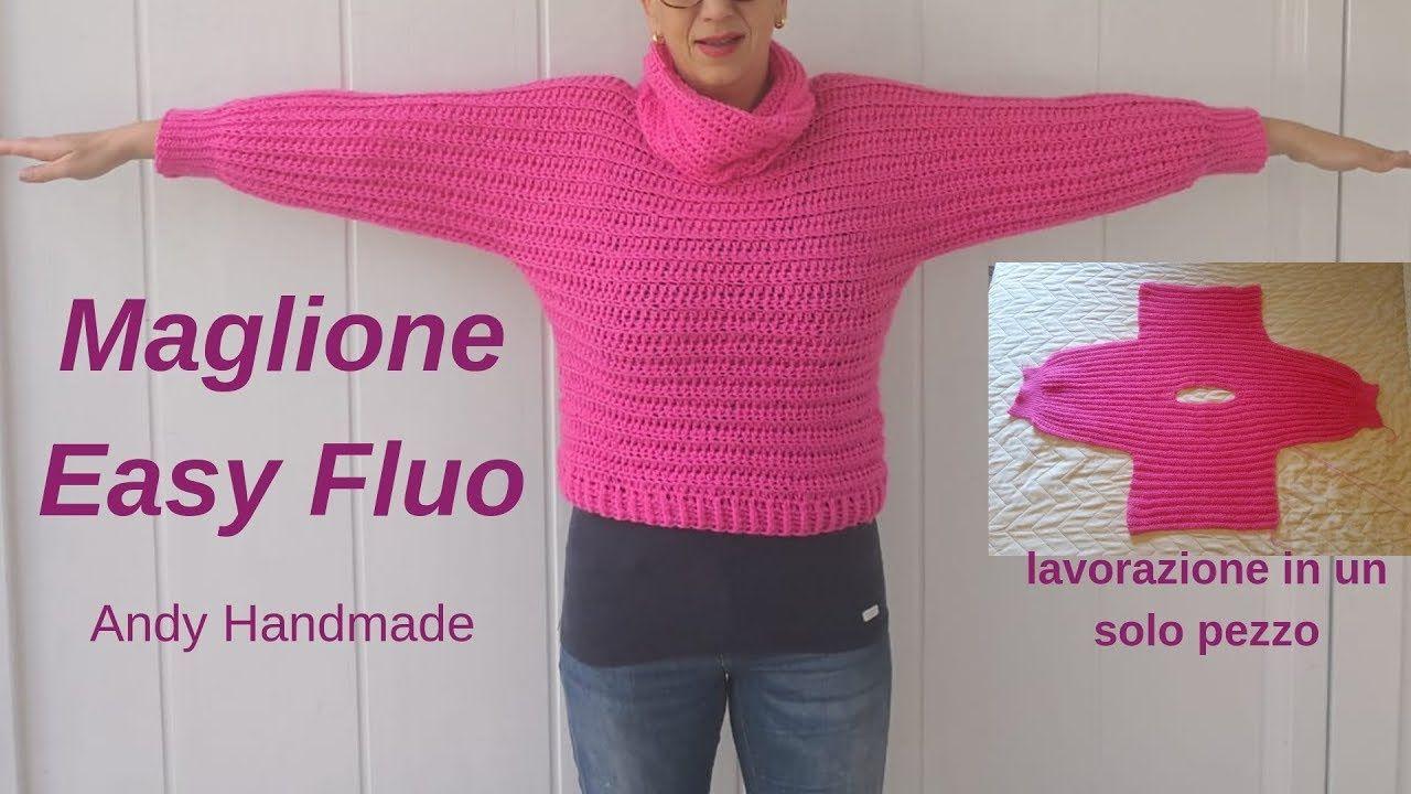 Maglione Easy Fluo Lavorato In Un Solo Pezzo Uncinetto Facile