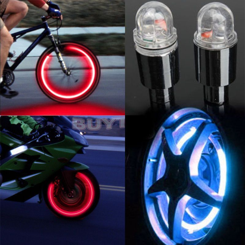 4 Neon LED Lamp Wheel Valve Cap Light For Car Bicycle Motorcycle NEW Set of
