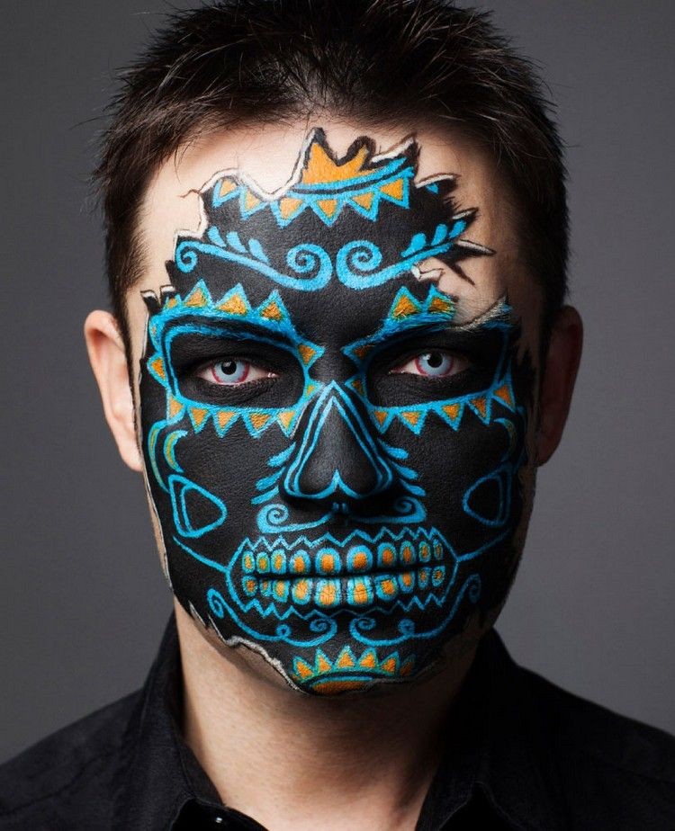 voodoo makeup f r mann in schwarz und blau dies das in. Black Bedroom Furniture Sets. Home Design Ideas