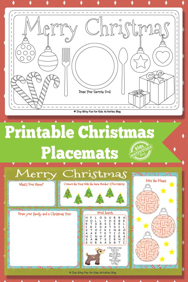 printable christmas placemats free kids printable - Holiday Printables For Kids