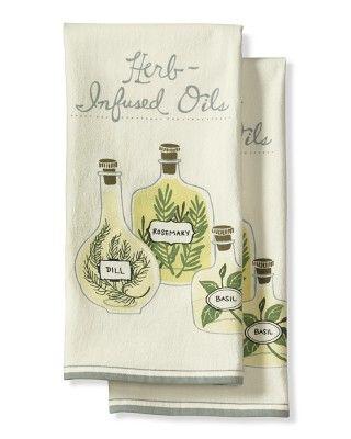 Olive Oil Print Towels, Set of 2
