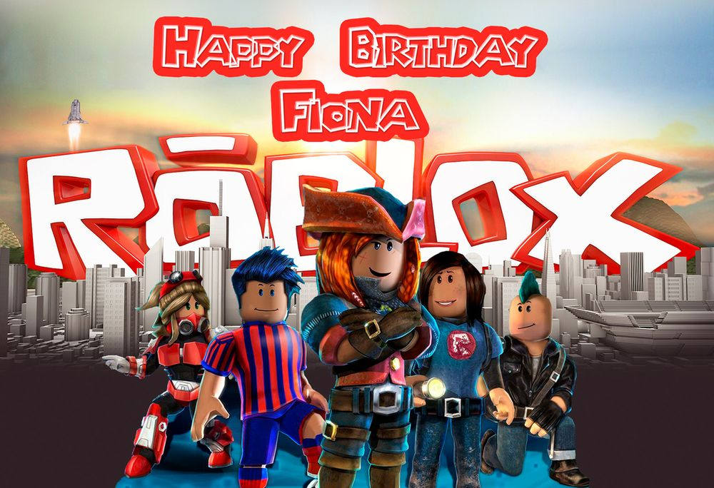 x2 Personalised Birthday Banner Roblox Children Kids Party Decoration Poster 31