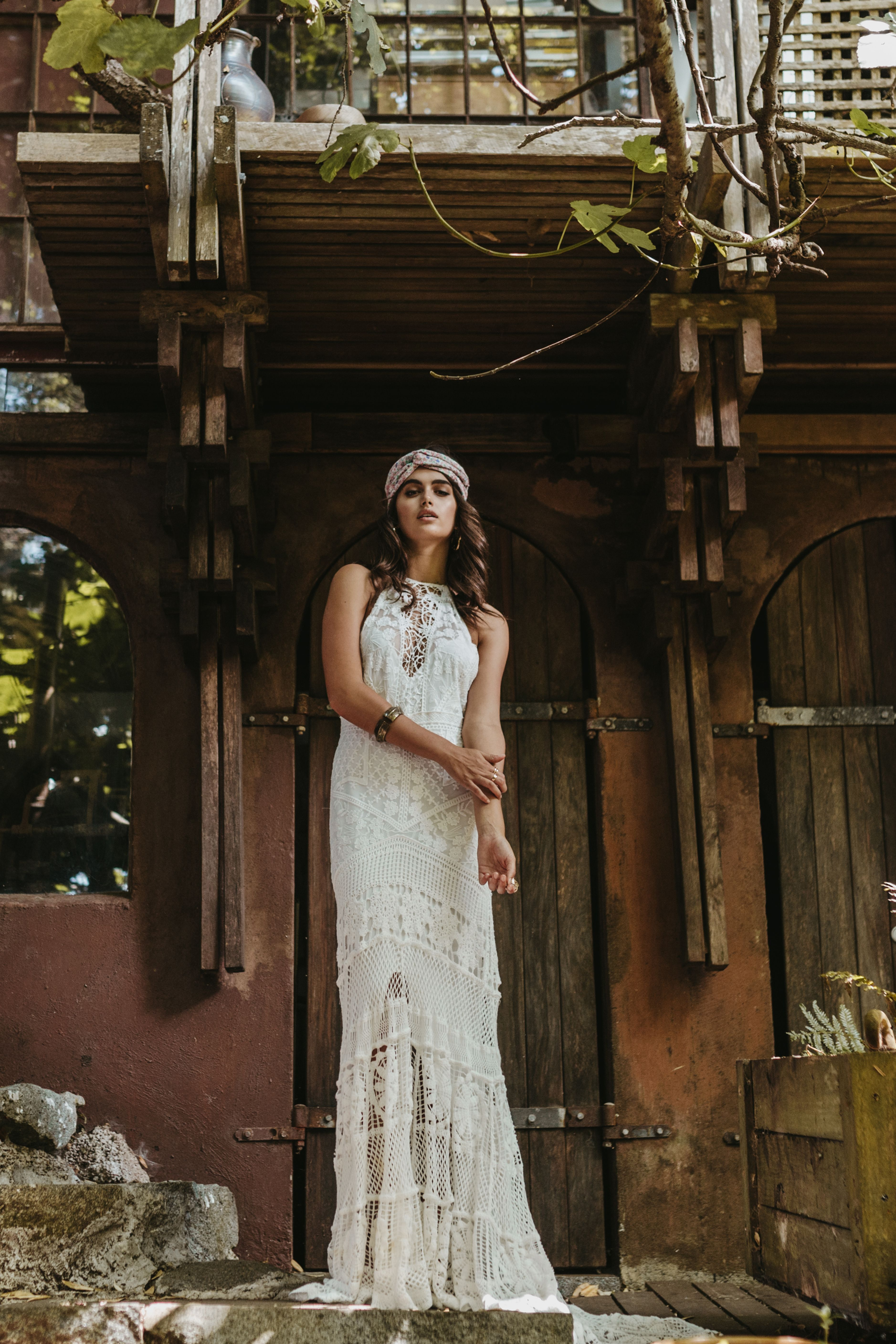 Bohemian bridal gown halter neckline by Lovers Society style name ...