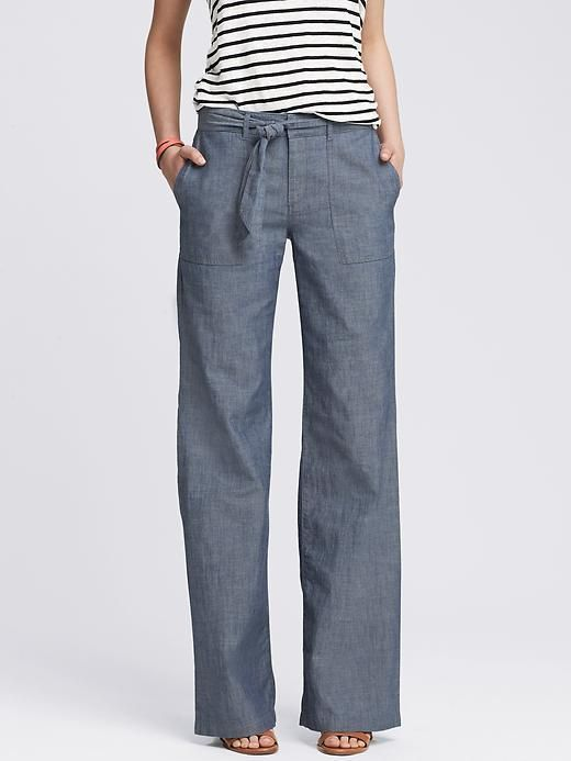 a467fb79ed3 Chambray Tie-Front Wide-Leg Pant
