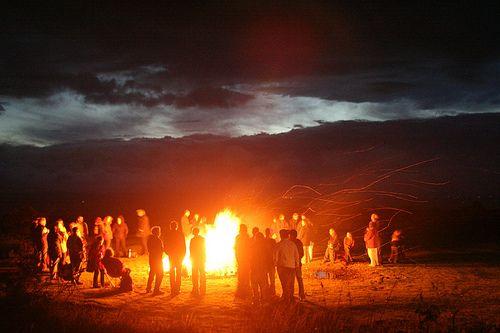 bonfire dance Finland night nude