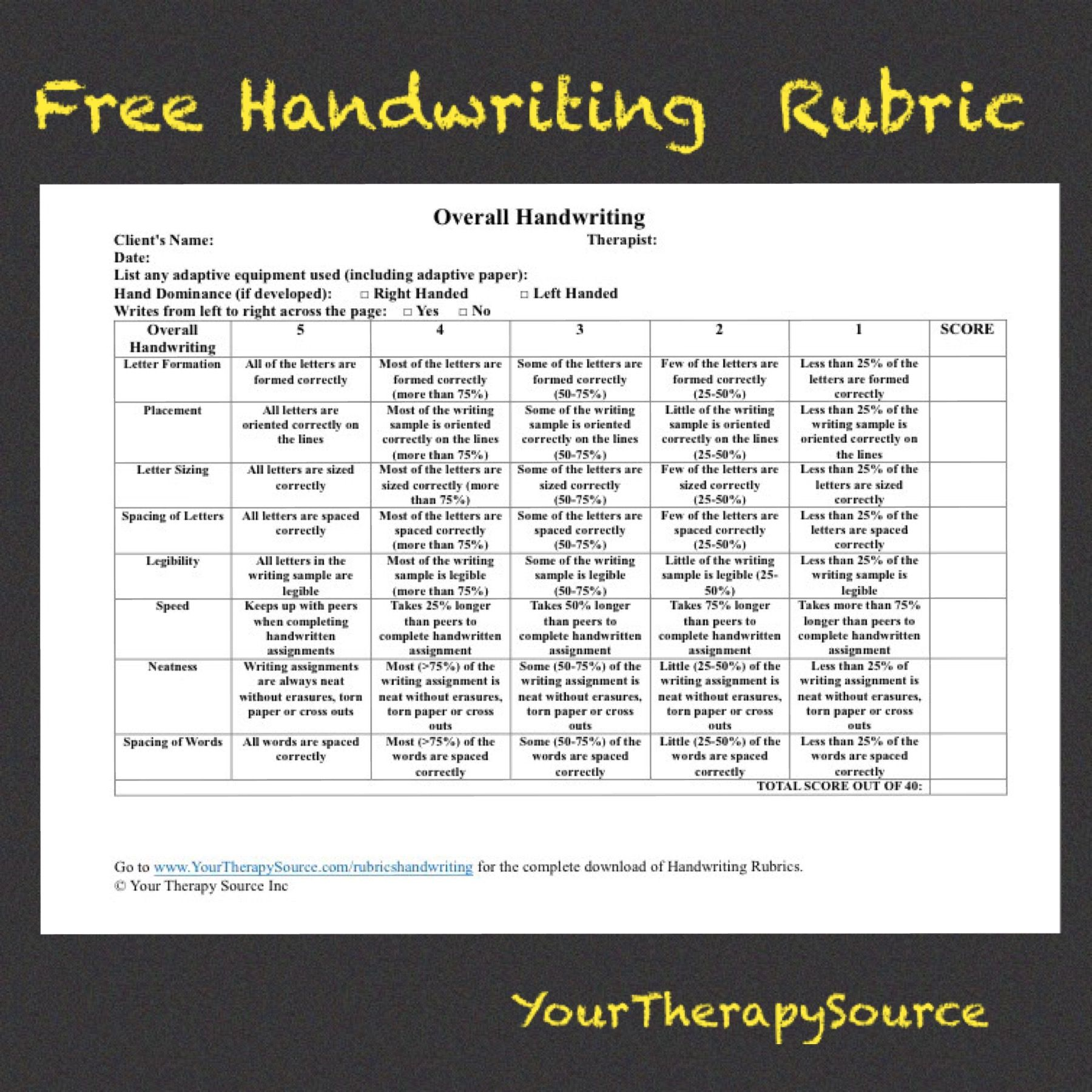 Free Handwriting Rubric From Your Therapy Source