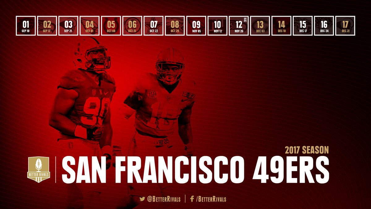 49ers 2017 Schedule Wallpapers For Iphone Android Desktop Niners Nationclockmenumore Arrowstubhub Logo Get Ready 49ers Schedule 49ers San Francisco 49ers