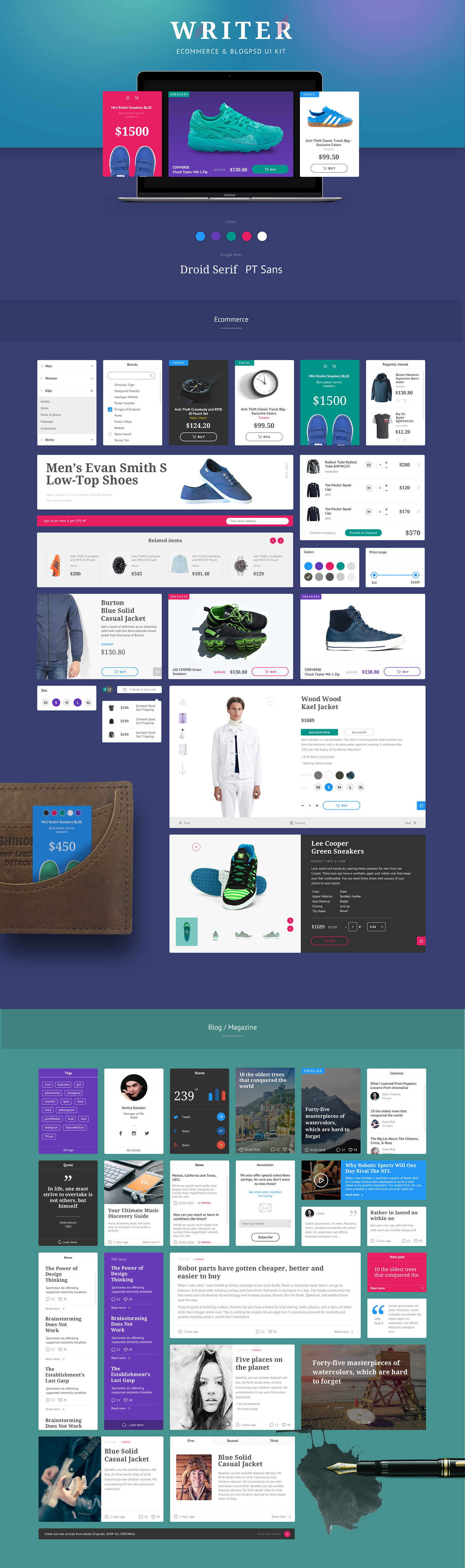 FOR DOWLOAD WRITER UI KIT: https://ui8.net/products/writer-ui-kitWriter UI is ecommerce and blog PSD Template is a uniquely ecommerce and news website template designed in Photoshop. Dark and light versions. PSD files are well organized and named accor…