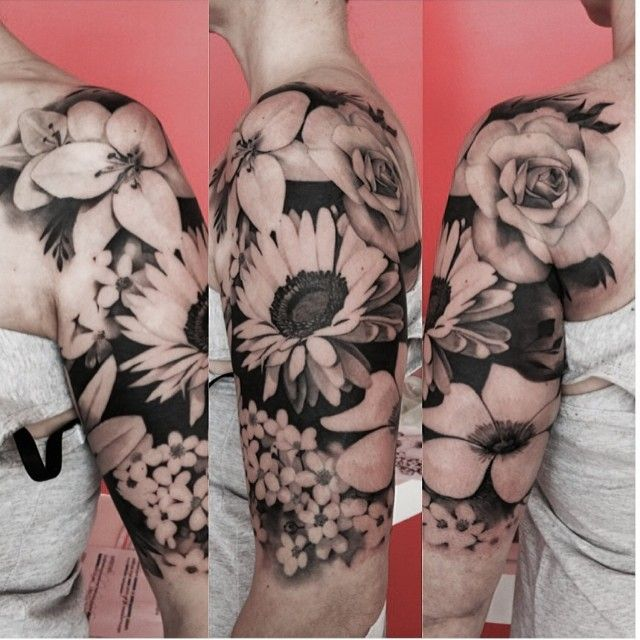Black and grey floral sleeve by by Matteo Pasqualin..kind ...