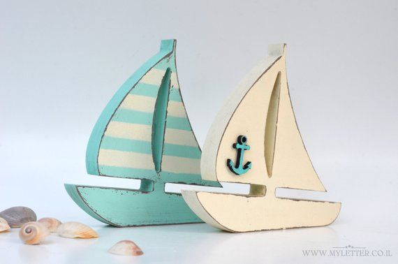 Wood Boat With Anchor Kids Room Decor Nautical Ship Boy