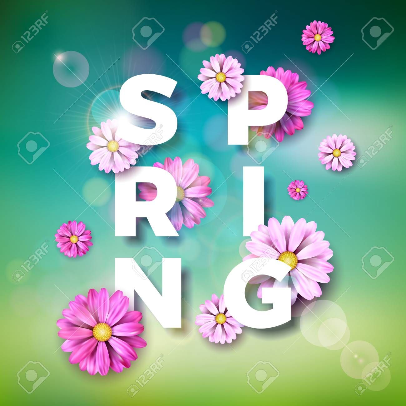 Vector Illustration on a spring nature theme with beautiful colorful flower on blurred landscape background. , #spon, #nature, #theme, #spring, #Vector, #Illustration