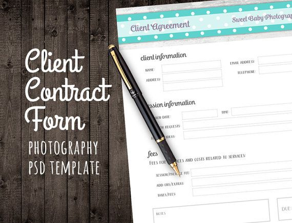 Client Agreement Form for Photographers by StudioTwentyNine - business agreement form