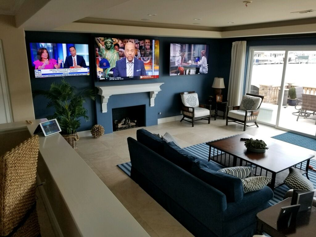 Our Client Wanted The Ultimate Tv Living Room So We Gave Them 3 Large Tvs Happy Customer 866 96 Media Homeinstall Living Room Tv Living Room Decor Home
