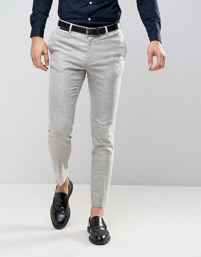 asos skinny suit pant in light gray texture  super skinny