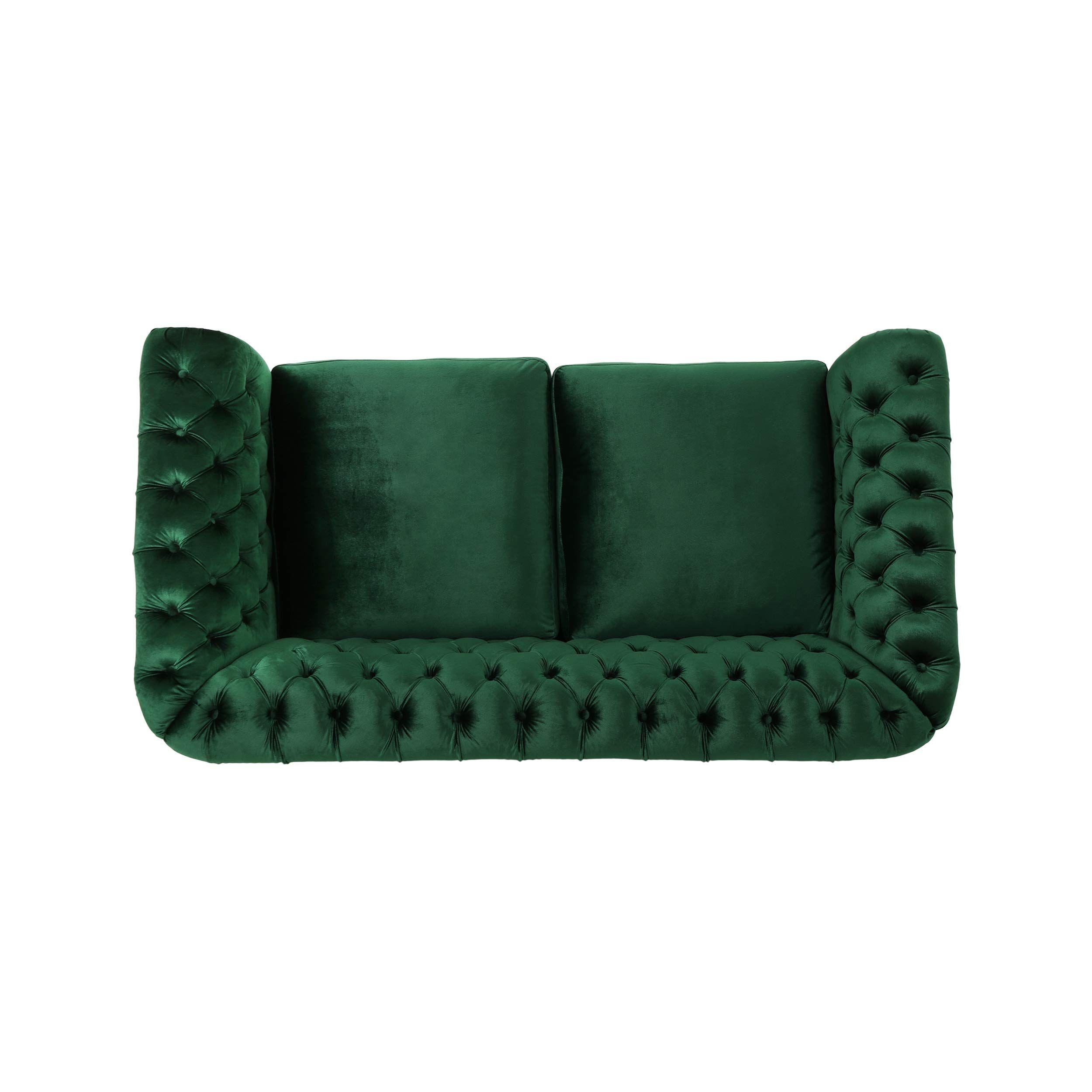 Superb Karen Traditional Chesterfield Loveseat Sofa Emerald And Short Links Chair Design For Home Short Linksinfo
