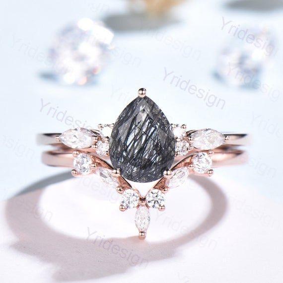 Pear Black Rutilated Quartz Engagement Rings Vintage 14K Rose Gold Art Deco Marquise Moissanite Wedd