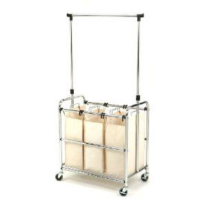 Rolling Laundry Cart With Hanging Rod Laundry Room Inspiration Laundry Sorter Laundry Mud Room
