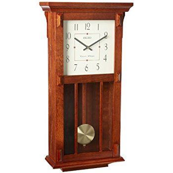 Amazon Com Seiko Wall Clock With Pendulum Dark Brown Case Westminster Whittington Chime Watches Chiming Wall Clocks Pendulum Wall Clock Wall Clock