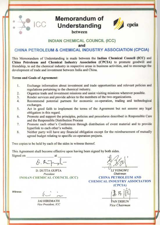 Industry Associations  Indian Chemical Council Icc  Mou Form