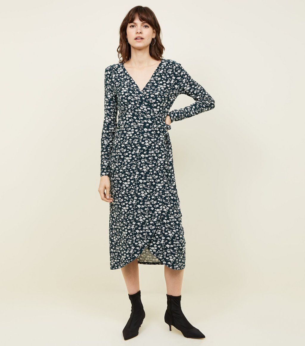 d930308e Black Bright Floral Button Through Midi Tea Dress New Look - raveitsafe