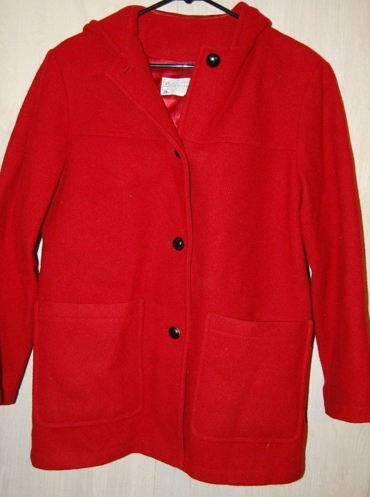 Vintage Pendleton 100 Virgin Wool Hooded Red Peacoat Pea