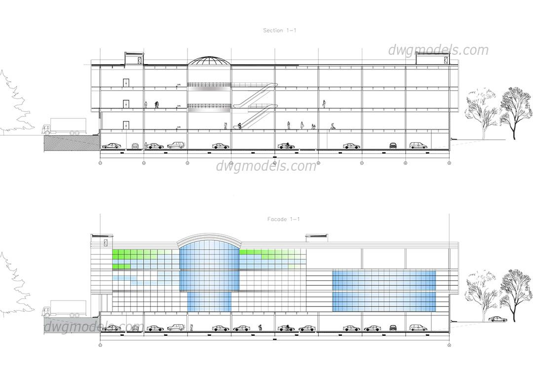 Shopping Mall Elevation Cad Blocks Free Dwg File Autocad