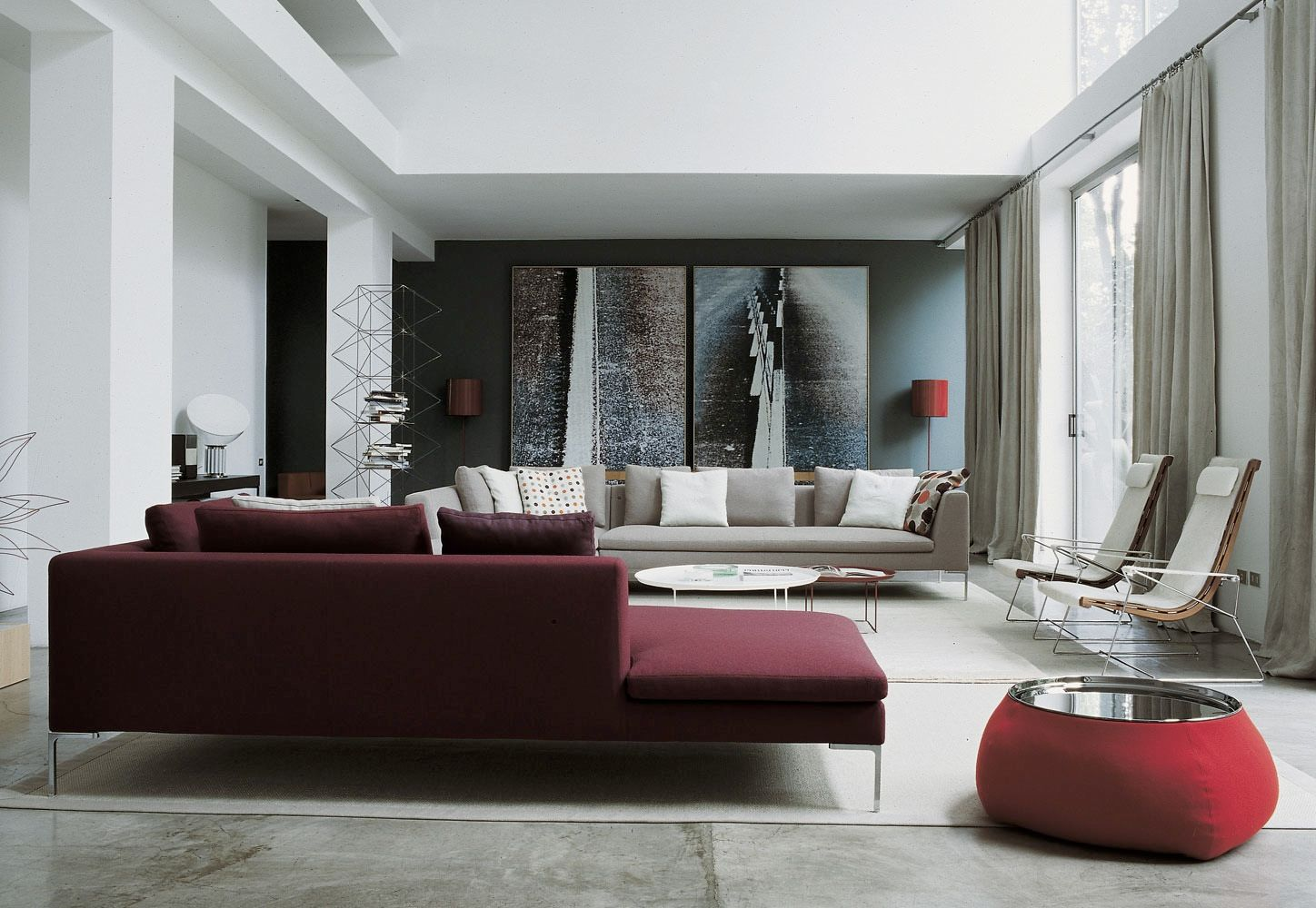 Living Room Decorating Ideas Burgundy Sofa white grey painted wall living room sofa decor. * following white