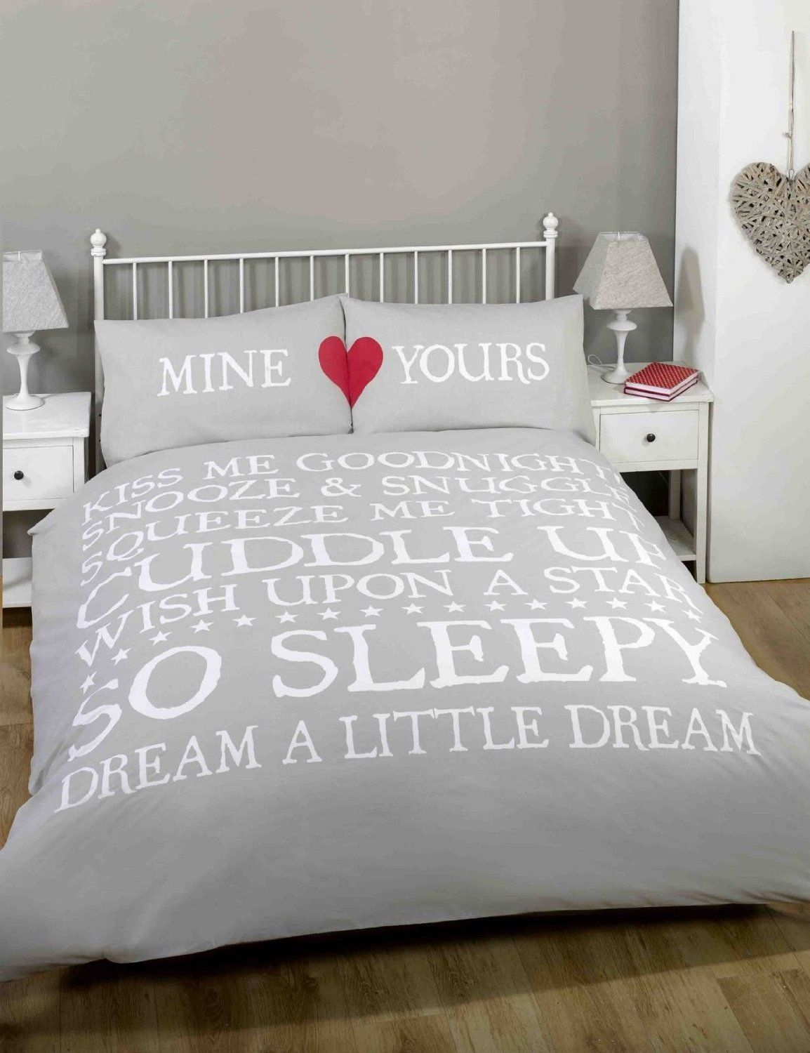 White and red bed sheets - Kiss Me Double Bed Size Snooze Snuggle Natural Beige White Red Duvet Cover Quilt Bedding