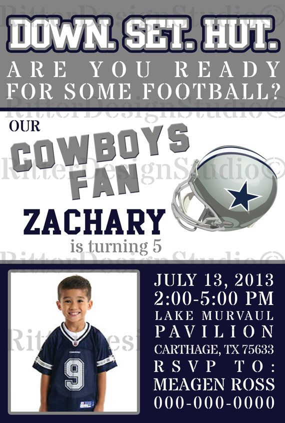 98ac400b2b6e18a4787d91fbdc6760e7 cute football birthday invitation nfl team can be changed,Dallas Cowboys Birthday Invitations