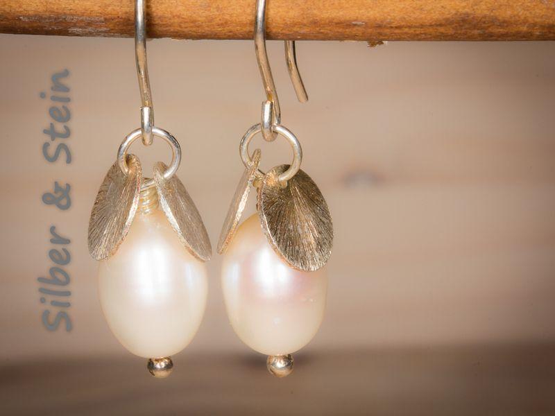 Perlen Ohrringe zierlich von Silber & Stein auf DaWanda.com | Silber ...