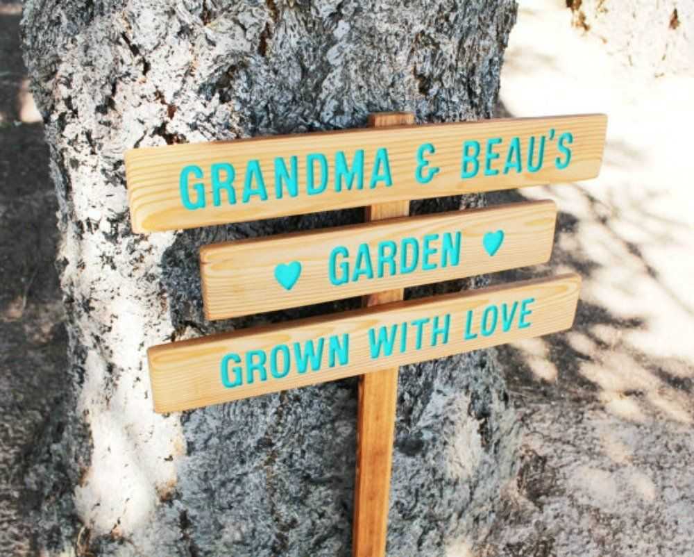 Custom Garden Sign, 3 Small Planks On 1 Stake, Personalized Garden Sign,  Grown With Love. *Our Grown With Love Signs Are Handmade From Oregon Cedar  Wood.