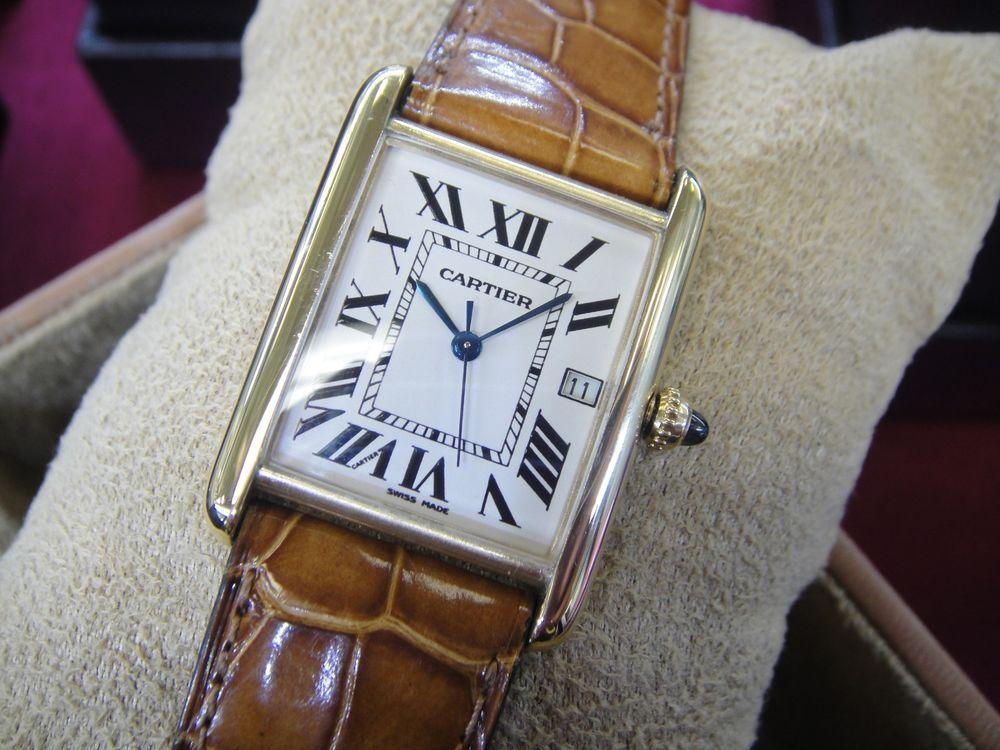 7b8d191bf705 Authentic CARTIER Tank Louis 18k Men s Watch w  Original Band   Vintage  Rare    Cartier