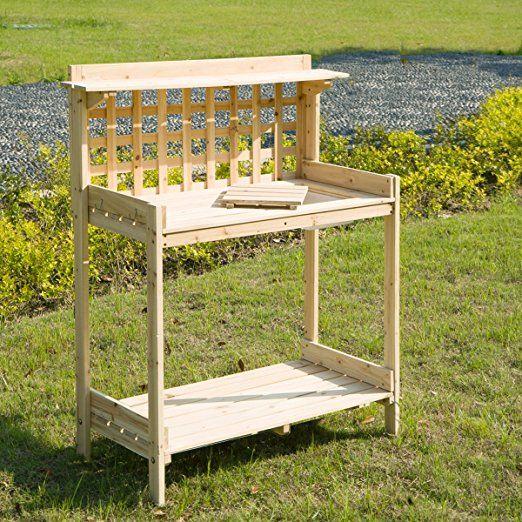 Enjoyable Merax Outdoor Solid Wood Potting Benches Garden Work Creativecarmelina Interior Chair Design Creativecarmelinacom