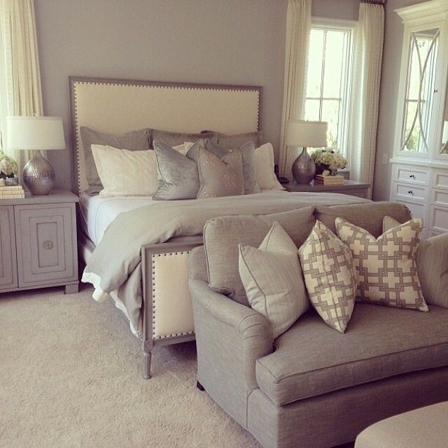 Obsessed with the cream grey colors house decor for Bedroom designs cream