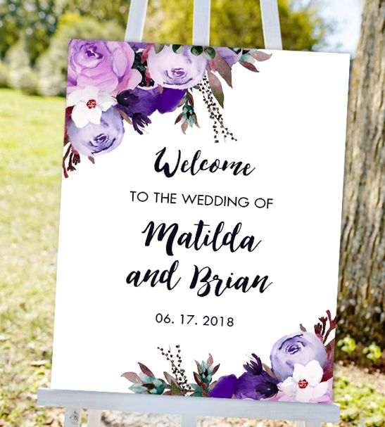 Free Editable Wedding Sign Welcome Purple Watercolor Flowers Pdf Printable Instant Download Printable Market Free Printable Wedding Invitations Free Printable Wedding Invitation Templates Wedding Signs