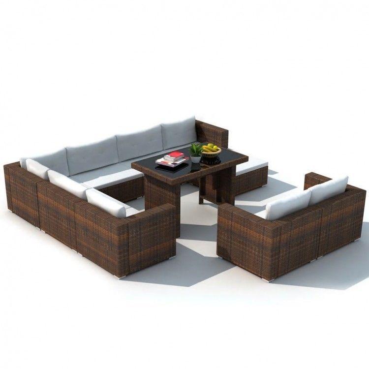 Brown Rattan Sectional Sofa Set Convertible Lounge Pool Table