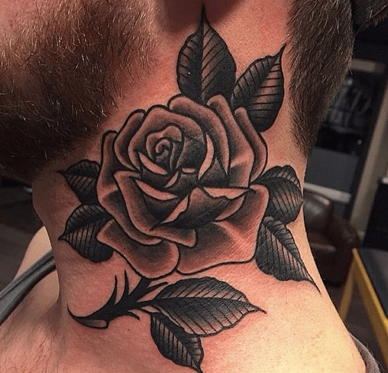 Bearded Man With Rose Tattoo On Neck Tattoo Ideas Rose Neck Tattoo Realistic Rose Tattoo Neck Tattoo