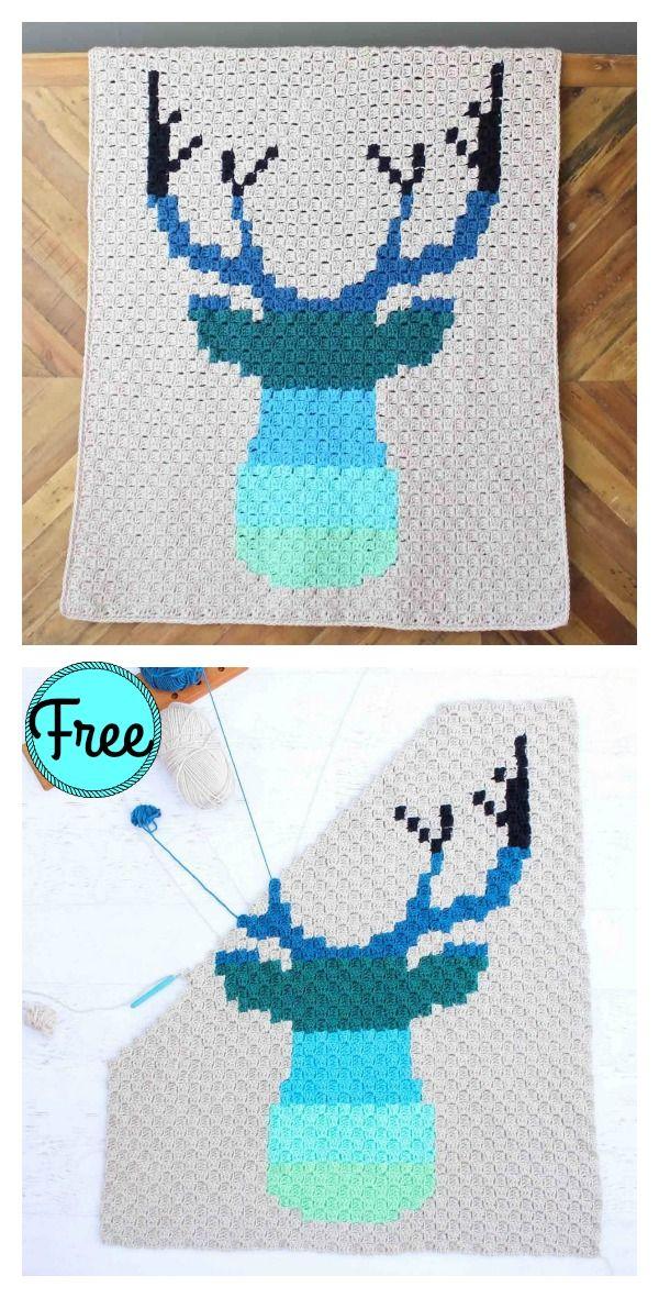 Corner to Corner Deer Afghan Blanket Free Crochet Pattern | Manta ...