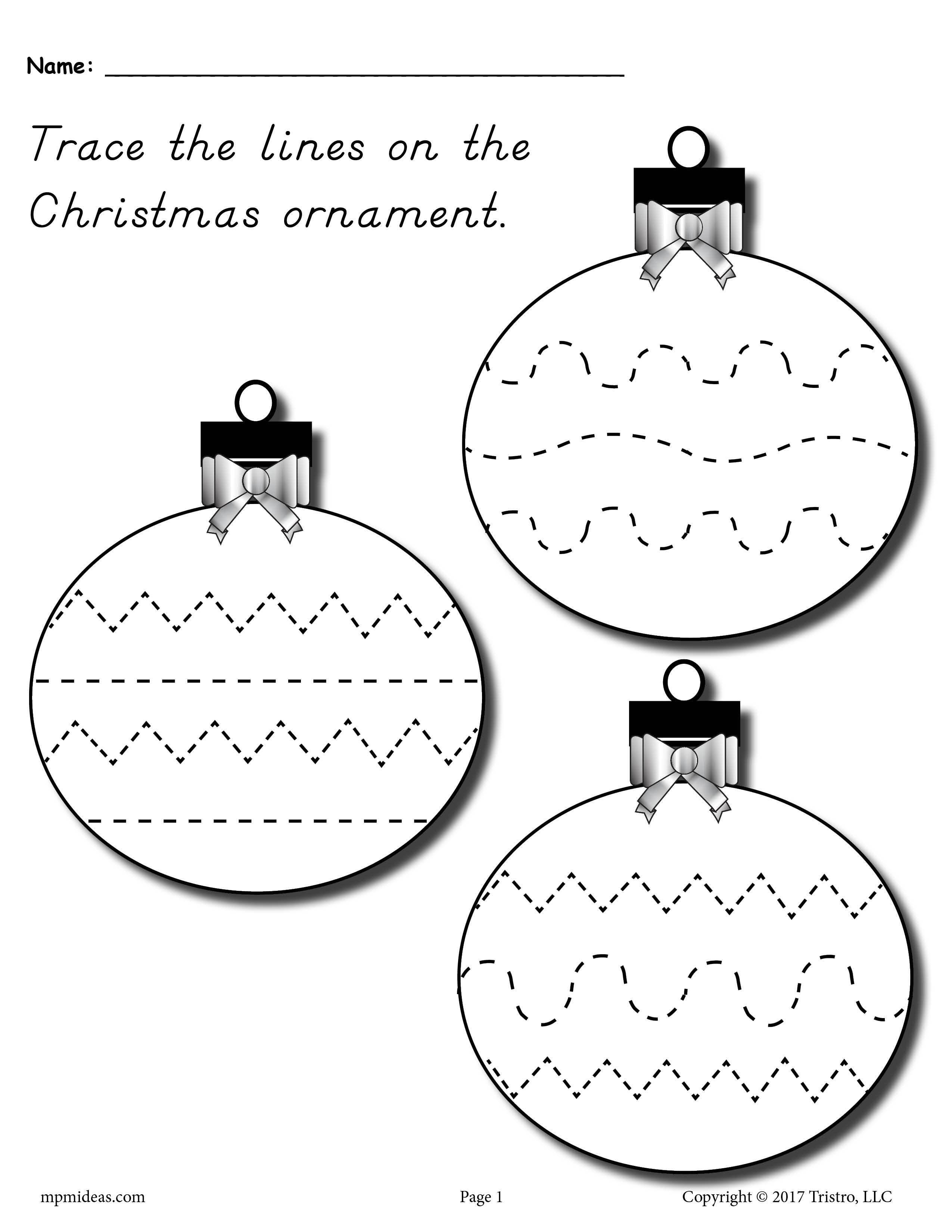 Printable Christmas Ornament Line Tracing Worksheet Printable Christmas Ornaments Preschool Christmas Worksheets Christmas Worksheets [ 3300 x 2550 Pixel ]