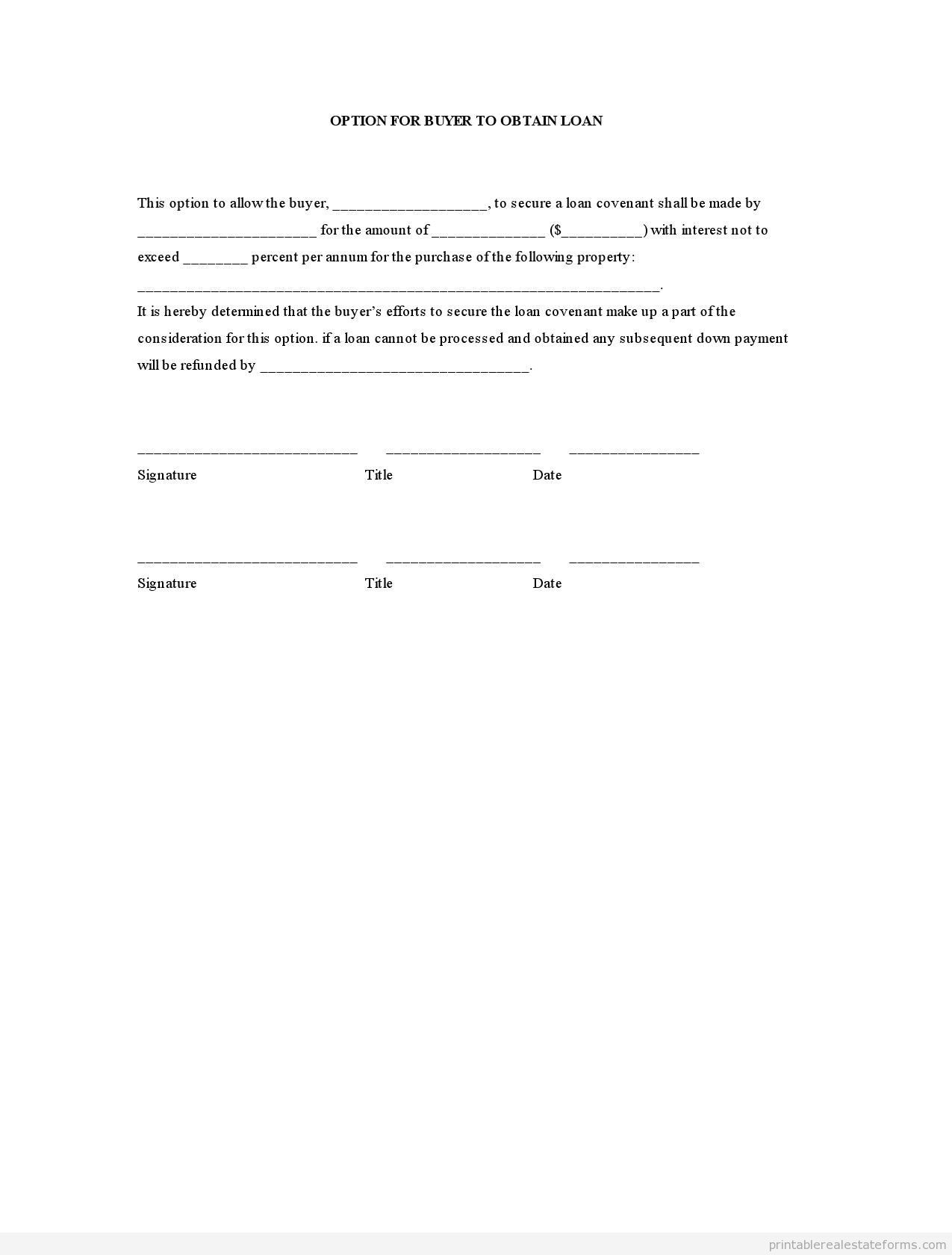 Loan Forms Template Sample Printable Option For Buyer To Obtain Loan Form  Printable .