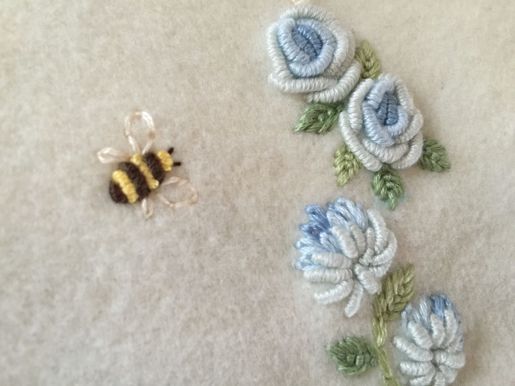 Hand embroidery embroidered baby blanket detail bullion