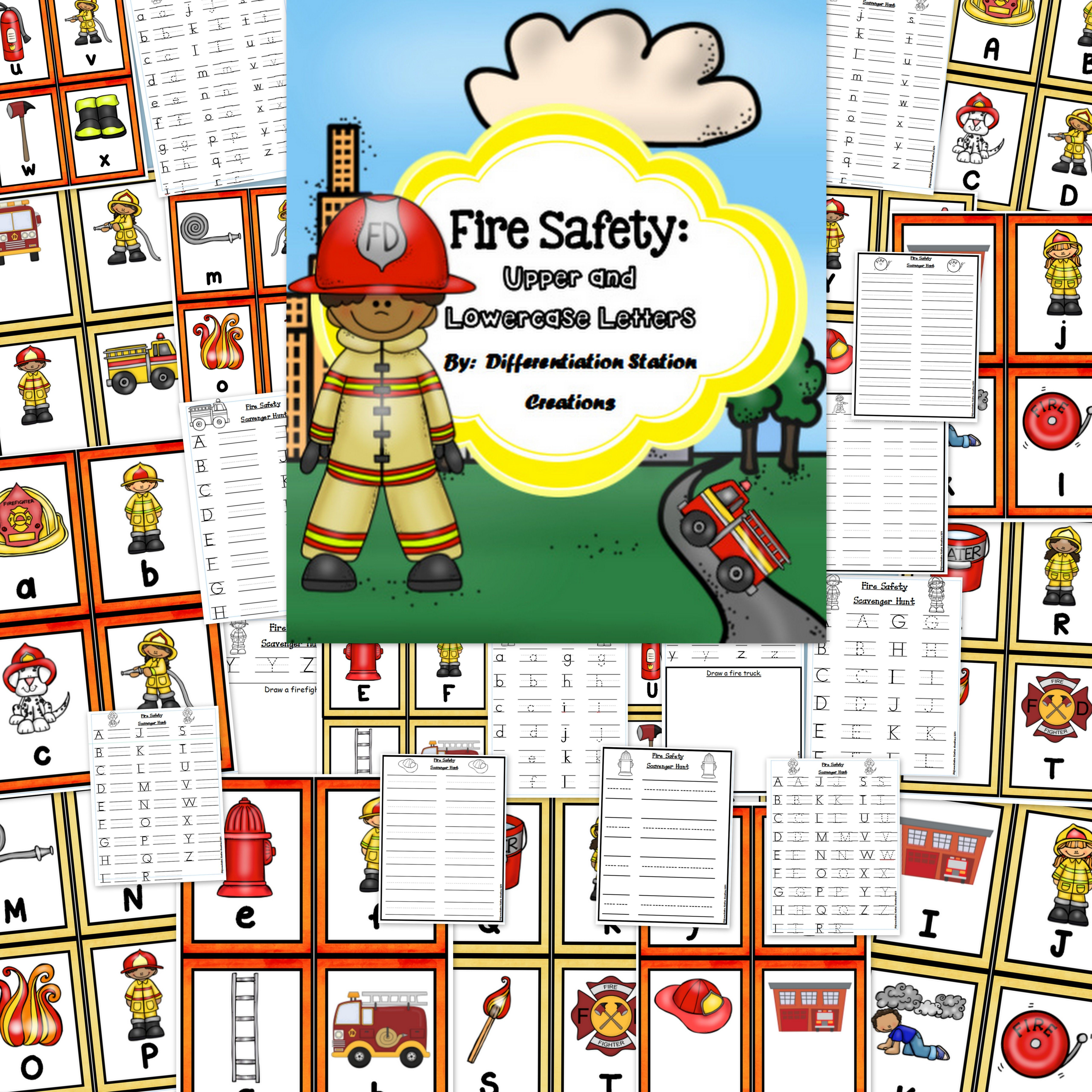 Fire Safety Alphabet Scavenger Hunt Upper And Lowercase Letters